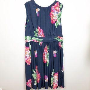 Boden Navy Floral Fit & Flare Pink Floral Dress